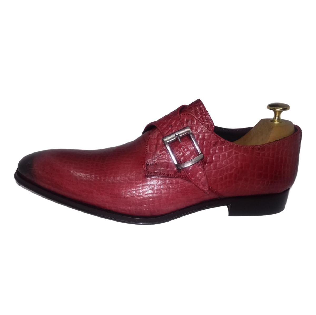 e1efdb5878129c Chaussure derby homme rouge - Prince croco ...