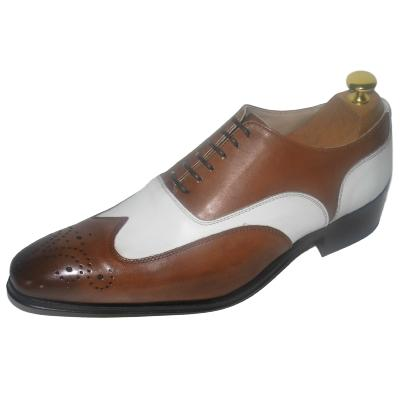 Chaussure richelieu cuir bi-color marron et blanc - Johnson