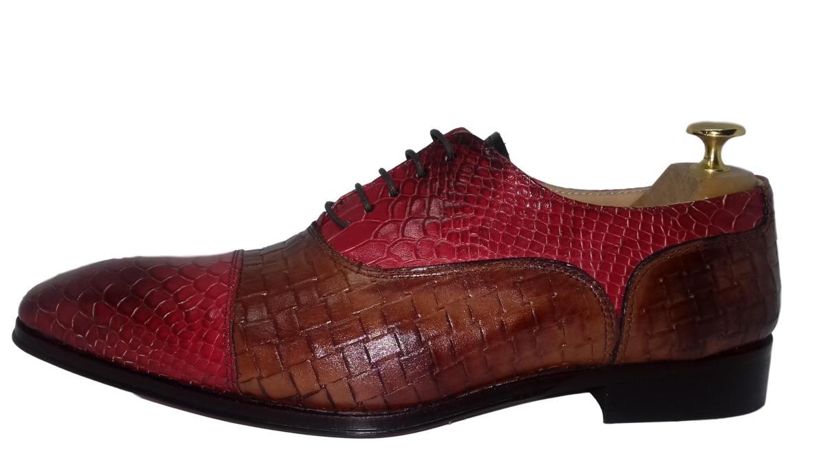Chaussure richelieu homme bordeaux et marron clair - Jason ... 3c0f4da5c40c